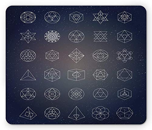 Sacred Geometry Mouse Pad, Alchemy Spirituality Icons Ancient Esoteric Mystical Figures Set, Standard Size Rectangle Non-Slip Rubber Mousepad, Dark Blue and White