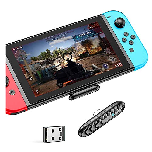 Bluetooth 5.0 Adapter für Nintendo Switch/Switch Lite,Kabellos Audio Transmitter,USB C zu A Konverter für Bluetooth Kopfhörer,Lautsprecher, PS4,PS5,PC,Laptop,TV-Plug&Play