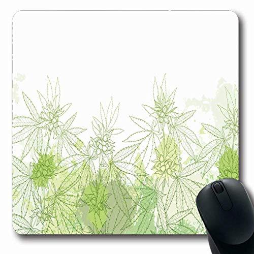 Alfombrillas de ratón Forma oblonga para el contorno del campo de hojas verdes Cannabis Sativa Naturaleza Marihuana Semilla de cáñamo Hierba Botánica Diseño de rama Alfombrilla de ratón antide
