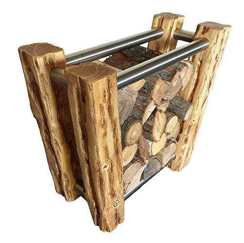Wood & Wishes - Rustikaler Kaminholzständer aus Massivholz mit Edelstahl, Kaminholzregal, Brennholzständer, Feuerholzregal; Handarbeit; Treibholzoptik; Landhausstil; dekoratives Unikat