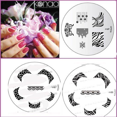 Bundle 5 pièces : Konad Plaque de nouvelles images M87, M88, M66 + Stamper & Scraper + A-viva Eco Lime à ongles