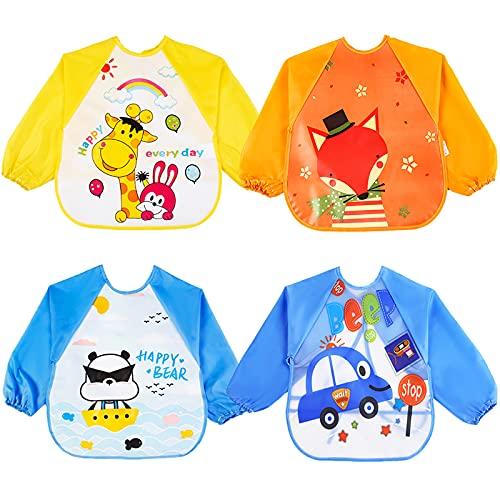 ONELY bebes Baberos del Bebé Babero de Manga Larga de Bebé baberos bebe impermeables 4 Piezas EVA Impermeable Delantal de Bebé, Unisexo Niños Niñas (0-36 meses)