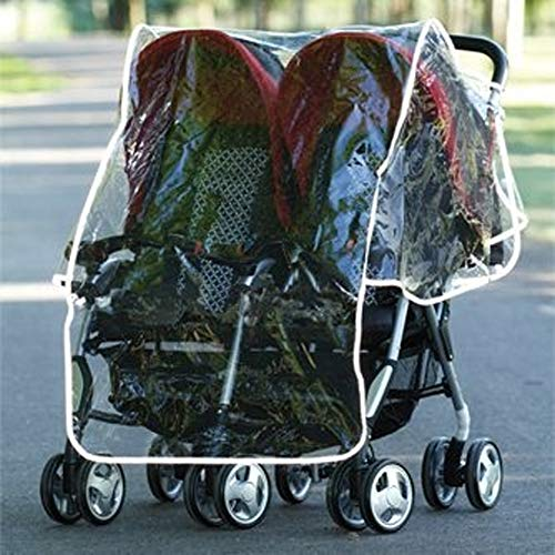 Universal Fits All Double Buggy Stroller Twin Pushchair Rain Cover Shield Protective Plastic Sheet with Multiple Air Vents and Storage Pocket