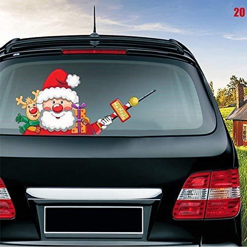 Zeaih Sticker, auto achter ruitenwisser sticker, voorruit Kerstman Waving Decor Ornament voor auto voertuig