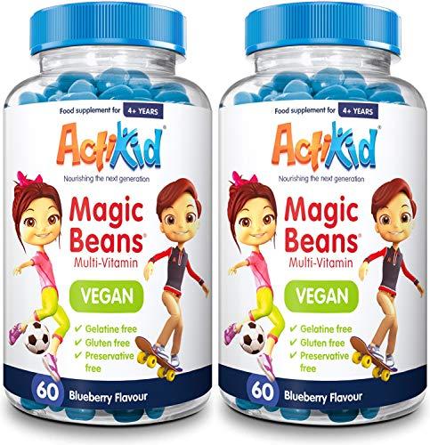 2X ActiKid Magic Beans Vegan Multi-Vitamin 60x Blueberry Flavour | Gelatin Free | Kid's Vitamin | Immune Booster