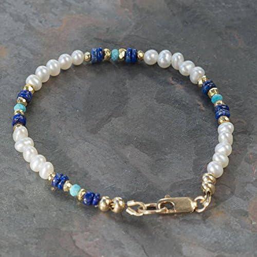 LOVEKUSH White Pearl Bracelet Daily bargain sale with Genuine quality assurance Lazuli Lapis Natural