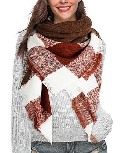 Voqeen Bufandas Mujer Invierno Moda Cuadros de Enormes Grib Grande Chal Cálido Bufandas Largas de Invierno (Marrón)