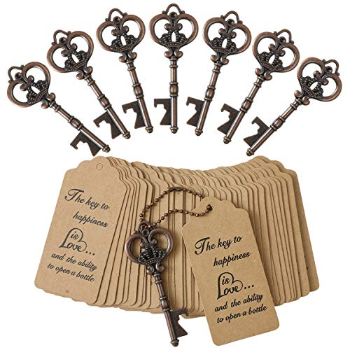 DerBlue 60 PCS Bottle Openers Wedding Favors Rustic Decoration with Escort Tag Card (Crown-bronze)