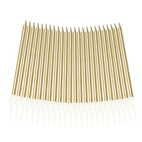 Aplusplanet 24 Count Champagne Gold Birthday Cake Candles, Metallic Long Thin Cake Candle in Holder for Cupcake Wedding, Shower, Party Decorations