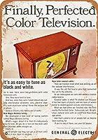 2個 20 * 30CMメタルサイン-1966年のGeneralElectric Color Television メタルプレート レトロ アメリカン ブリキ 看板