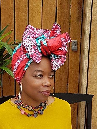 Headwrap / african print headwrap/ turban / Headtie / ankara headscarf / African headtie / wax print headwrap / headscarf - Pink