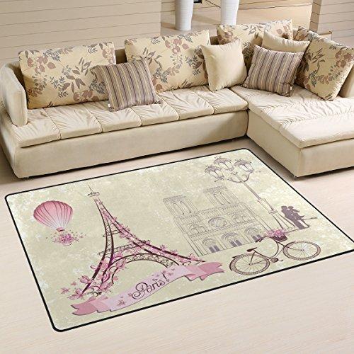 Naanle - Alfombra antideslizante para salón, comedor, dormitorio, cocina, 50 x 80 cm, diseño romántico de París Love Nursery, alfombra de suelo y yoga, multicolor, 50 x 80 cm(1.7' x 2.6')