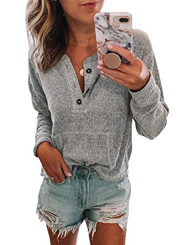 Womens V Neck Henley Shirts Pocket Ribbed Long Sleeve Button Down Tops Casual Loose Fit Tees Grey