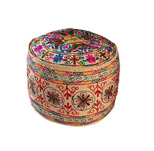 viannchi Pouf grande rotondo, con imbottitura, ricamato etnico colorato e originale, per soggiorno, camera, decorazione