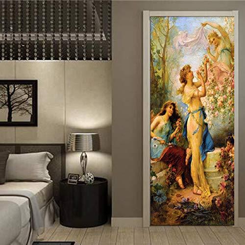 Deursticker, 3D-zelfklevend, vintage, portretten, deurbehang, muurschildering pvc, fotobehang, waterdicht, deurposter, deursticker, afneembaar behang voor deurpaneel, slaapkamer, keuken, badkamer, deur, decoratie 88x200cm