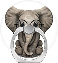 LoveStand-Cell Phone Ring Holder 360 Degree Finger Ring Stand for Smartphone Tablet and Car Mount-Cute Baby Elephant with Reading Glasses White