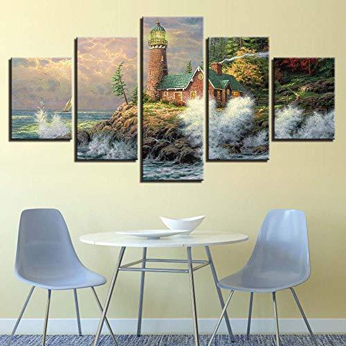 RuYun 5 met inkjet - strandrestaurant rotsachtige seascape schilderij slaapkamer sofa achtergrond decoratief schilderwerk canvas schilderij kantoren, schilderij kern 30x40cmx2 30x80cmx1 30x60cmx2, h233-11