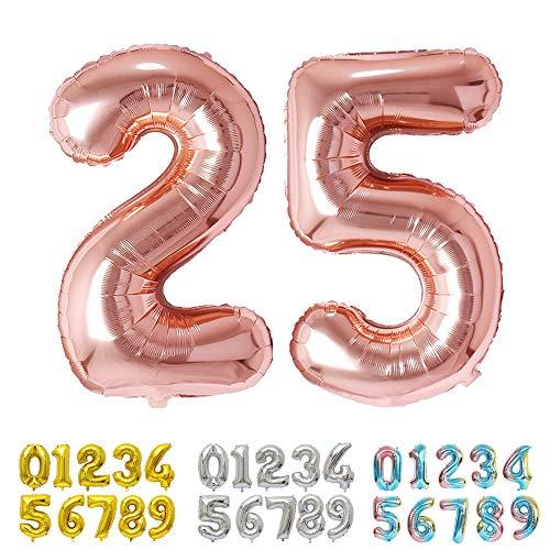 Ponmoo Rosegold Luftballon Zahlen 25 / 52 Folienballon Zahl Geburtstagsdeko, Deko zum Geburtstag Folienluftballons, Dekoration Birthday Zahlenballon 25 / 52 Rosegold