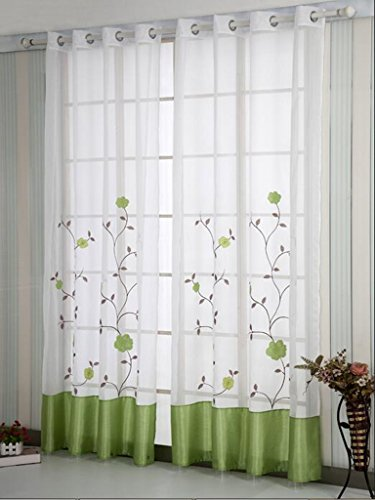 SIMPVALE 1 Pieza Cortinas Visillos Bordado Floral para Balcon, Salón, Habitación, Dormitorio y Cámara, Anchura 140 cm, Verde, Altura 245cm