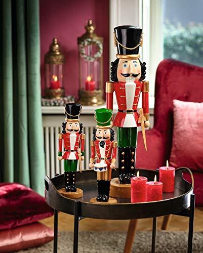Hochwertiger Deko Nussknacker- Dekofigur - Handbemalte - Deko Figur/Nussknackerfigur - Weihnachten/Weihnachtsdeko (Modell: Trommel, Höhe: 36 cm)