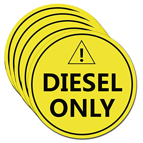 """Diesel Only Sticker Sign,4"""" Diesel Only Decal Labels - to Prevent User Error - Adhesive Fuel Stickers for Trucks, Tractors, Machinery(5 Pack Set) (Orange Yellow)"""