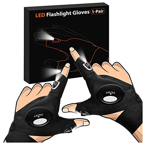 LED Flashlight Gloves Valentines Day Gifts for Him, Light Gloves Gifts for Men, Women, Fingerless Hand Light Tools for Fishing, Repairing, Camping, Cool Birthday Guy Gifts, Fathers Day Dad Gifts