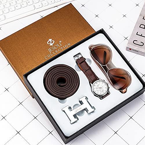 ZOZIZZ Conjunto de Regalo de Hombre Conjuntos de cinturón de Cuero bellamente empaquetado Conjunto de Regalo de Gafas de Sol, Regalo para el día de San Valentín Día de Navidad Día de cumpleaños,C