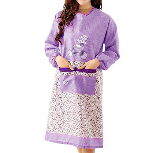Jiyaru Apron Women Long Sleeve Cooking Dress Home Kitchen Ladies Workwear Purple