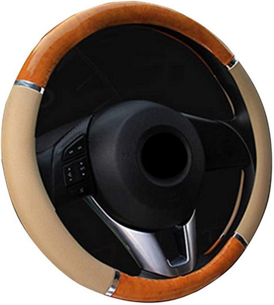 Couverture de volant de voiture moyen litchi motif croissant de bois grain 15 pouces voiture style bois beige