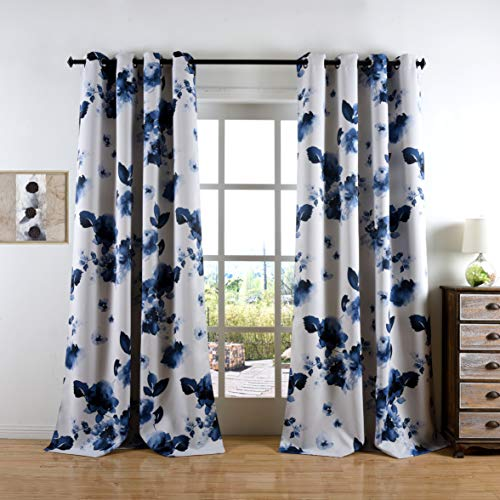 Taisier Home 63 Inches Short Lnk Curtains Printed Grommet Top Room Darkening Window Curtain Drapes, Chinese Traditional Ink Painting Stylized Leaves and Flower,Artwork,Deep Blue Print Curtains