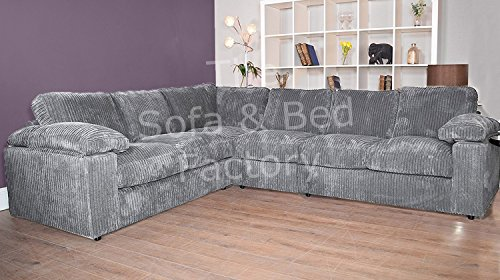 Ruxley Large Fabric 6 Seater Corner Sofa - 2 Corner 3 - Charcoal Grey (2 Corner 3)