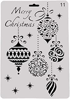 Merry Christmas Cookie Decorating Stencil Reindeer Elk Ball Star Pattern Plastic Cupcake Stencils Food Safe Templates Mold DIY Baking Cake Tools for Xmas Wedding Festival Decorations