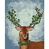 N/A Pintura Digital Bricolaje Pintura de Bricolaje por números Spring Deer Digital Oil Painting Canvas Unique Gift Pictures Home Decor Wall Drawing Set-Sin Marco,16 * 20inch