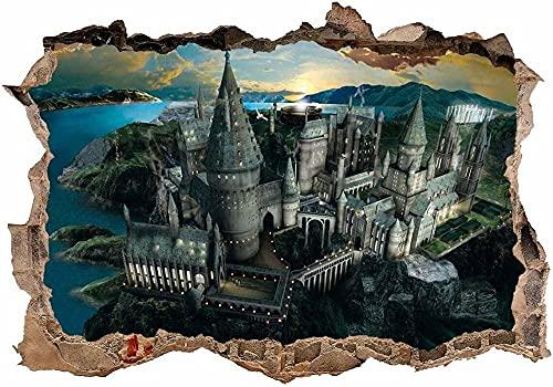 Pegatinas de pared Etiqueta de la pared 3D Etiquetas de pared Murales Harry Potter Hogwarts Castillo Fondo Decoraciones de pared Papel pintado 50x70cm para la etiqueta engomada de la pared del dormito