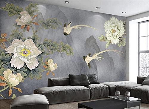 BLZQA Fotomurales Papel pintado tejido no tejido Murales moderna Pájaro de flores blancas Arte de la pared Decoración de Pared decorativos 200x150 cm-4 panelen