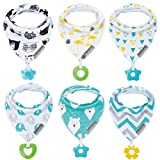 Baby Bandana Drool Bibs 6-Pack and Teething Toys 6-Pack Made with 100%...