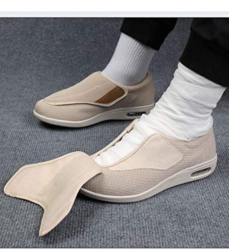 B/H Zapatos Anchos Hinchados para Hombres,Zapatos Ancianos de Verano y otoño, Zapatos Unisex con pies hinchados-Black_41