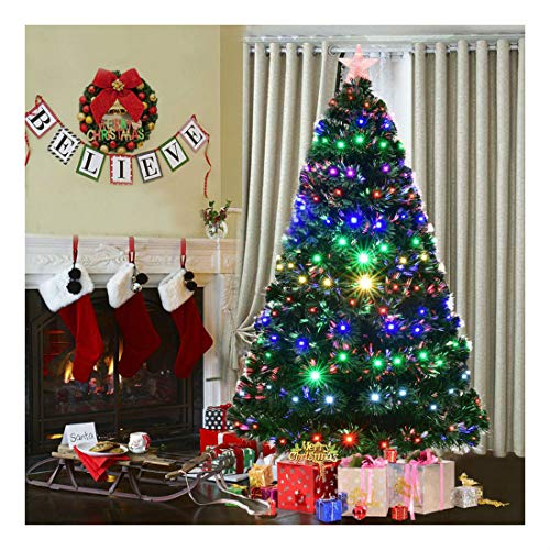 7' Pre-Lit Fiber Optic Artificial Christmas Tree w/Multicolor LED Lights & Stand