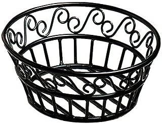 American Metalcraft BLSB80 Wrought Iron Scroll Design Round Bread Basket, 8-Inch, Black