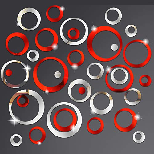 Sntieecr 48 PCS Acrylic Circle Mirror Wall Stickers Removable Round Dots Mirror Wall Decals Crystal Wall Decoration Murals for Home Living Room Bedroom Decor (Silver and Red)
