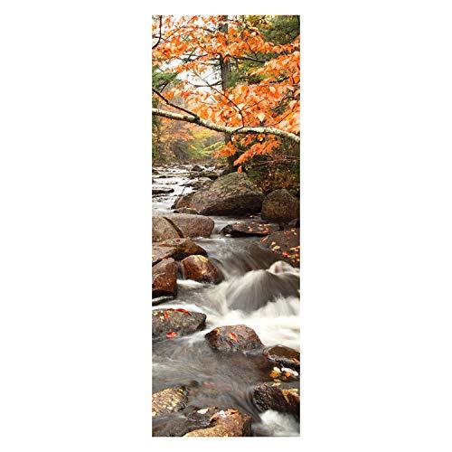 wandmotiv24 Türtapete Fluss im Herbst 70 x 200cm (B x H) - Papier Tapete, Tür-Aufkleber, Türbild, Wandbild M0381