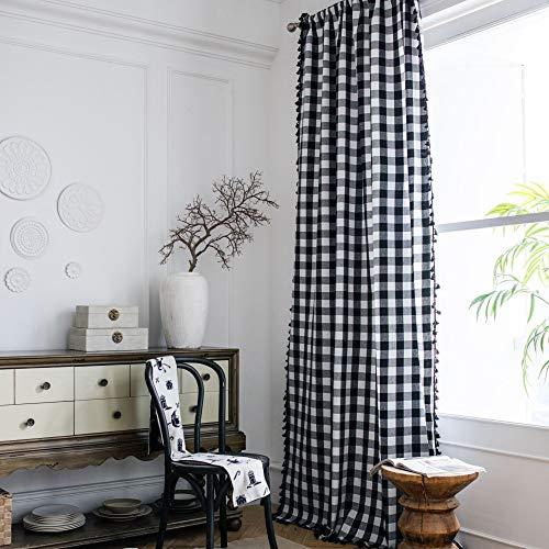 PICTURESQUE Cortina de Cuadros de Búfalo de Algodón Blanco y Negro para el Dormitorio de la Granja Sala de Estar 150×240cm