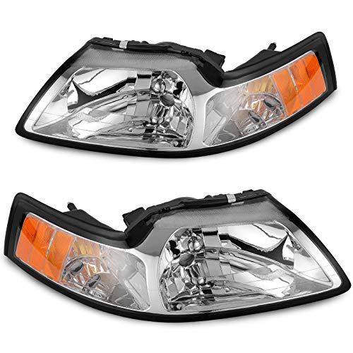 AUTOSAVER88 Headlight Assembly Compatible with 99 00 01 02 03 04 ford Mustang,Chrome Housing