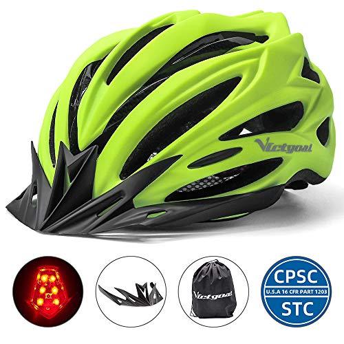 VICTGOAL Fahrradhelm Herren Damen MTB Mountainbike Helm mit Visier Abnehmbarer Sonnenschutzkappe und LED licht Radhelm Fahrradhelme für Erwachsenen 57-61 cm (Matt Gelb)