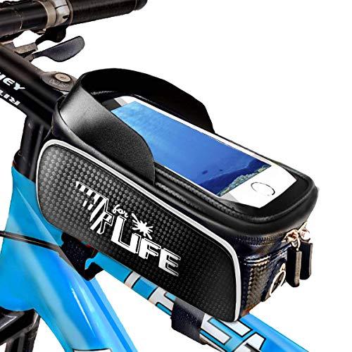 7ForLife - Fahrrad Rahmentasche WASSERDICHT mit Handyhalterung für Smartphones bis 6,7 Zoll - Ideal für Navi mit Kopfhörer - Fahrrad Lenkertasche mit Touchscreen für perfekte Bedienung