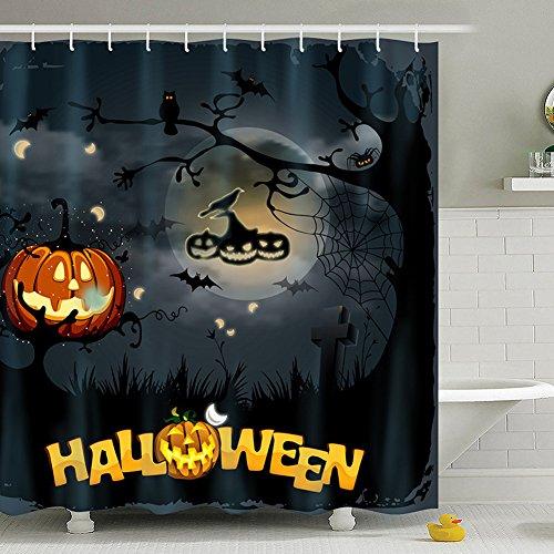 UKEY Halloween Vorhang für die Dusche 180,3x 180,3cm Wasserdicht Polyester-Antibakteriell-Badezimmer Kürbis Dusche Vorhänge Dekoration mit 12Haken, Polyester, Halloween Series 1, 180cm*180cm