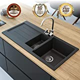 Black Kitchen Sink Lavello Decoro 150LT 39' Granite Sink Composite Double Bowl Big Range of Kitchen Sinks Drop...