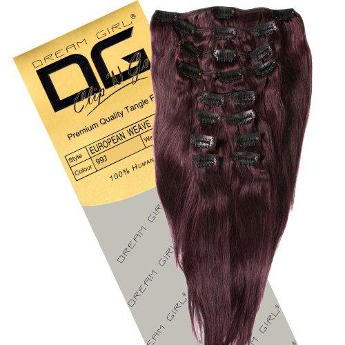 Dream Girl Remi Extensions de cheveux avec clip Couleur 99J 35 cm