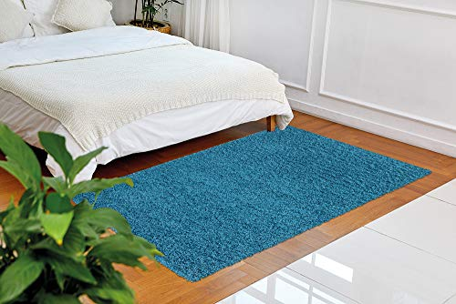 "Ottomanson Soft Cozy Solid Color Shag Rug Contemporary Living and Bedroom Kids Soft Shaggy Area Rug(3'3"" X 4'7"", Blue)"
