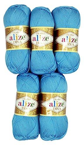 Alize 5 x 100 Gramm Wolle Diva Batik einfarbig, 500 Gramm merzerisierte Strickwolle Microfiber-Acryl (blau 346)